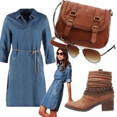 Vestito in denim con cintura in vita per il tuo look casual in autunno, in abbinamento una borsa a tracolla, stivaletti bassi e occhiali da sole. L' outfit è destinato al tuo tempo libero o per l' università.
