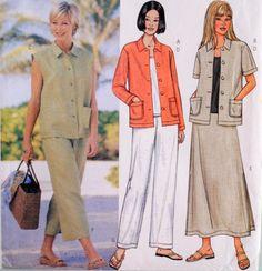 Butterick 3532 Sewing Pattern Misses Skirt Pants Top Jacket Vest Size 14 16 18  #Butterick
