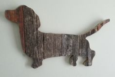 Dachshund is made from repurposed weathered barn wood.