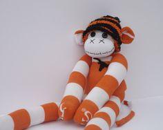 Handmade sock monkey : Burt  ~ The original 100% hand stitched plush animal made by Chiki Monkeys by ChikiMonkeys on Etsy