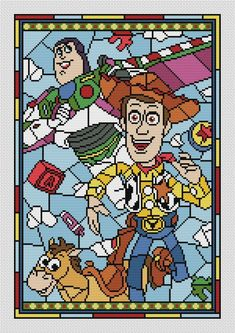 "Disney cross stitch pattern Toy story (small)"" in pdf. Counted cross stitch BUY 2 GET 1 FREE Disney Cross Stitch Patterns, Modern Cross Stitch Patterns, Cross Stitch Kits, Counted Cross Stitch Patterns, Cross Stitch Designs, Disney Stained Glass, Toy Story Crafts, Stain Glass Cross, Pixel Art Templates"