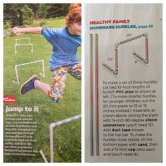 PVC pipe hurdles. Build these at a Den Mtg (Wolf 5e  *18d, Bear *18b-c, Web Craftsman 4). Then set up an obstacle course for Pack Mtg. activity. From Family Fun Mag, Sept 2013.