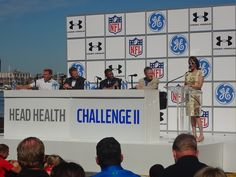 Representatives from the NFL, Under Armour, the Army and General Electric announce the Head Health Challenge II at an event in Baltimore on Sept. 4.