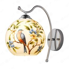 71.16$  Watch here - http://ai612.worlditems.win/all/product.php?id=32801494022 - Retro Pastoral European Hand Pianted Birds Glass Aluminum Led E27 Wall Lamp For Living Room Bedroom Bathroom Aisle 80-265v 2057