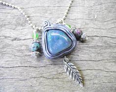 Forêt pendentif - ooak faits à la main collier polymère argile agate pierre gemme cristal elfe fée fantaisie enchantée cosplay gothique trésor caché