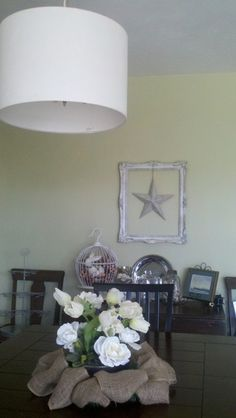 dining buffet - ready for spring - paper star - drum lamp shade -
