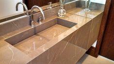 Pia de porcelanato é durável Drop In Bathroom Sinks, Modern Bathroom, Furniture Plans, Wood Furniture, Homer Decor, Brick Bbq, Sink Design, Laundry Room Design, Sweet Home