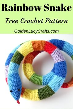Learn how to crochet this cute toy snake! Easy and fun crochet project, perfect for beginners! Free pattern. Crochet toy snake free pattern, amigurumi crochet snake, crochet for kids. #crochet, #crochetpattern, #crochetsnake, #amigurumi Crochet Butterfly Free Pattern, Crochet Amigurumi Free Patterns, All Free Crochet, Crochet For Boys, Cute Crochet, Crochet Crafts, Easy Crochet, Crochet Toys, Crochet Projects