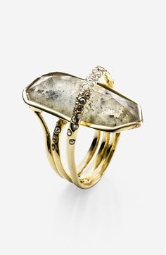 "'Miss Havisham' Doublet Ring at Nordstrom.com. A coiling band scattered with hand-set crystals. 5/8""W x 1 1/4""L setting. Goldtone plate/labradorite and white quartz doublet/Swarovski crystal. By Alexis Bittar; imported."