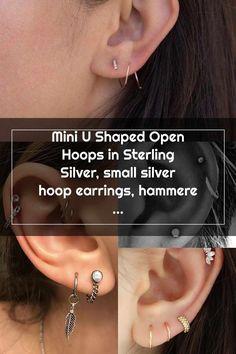 Double Cartilage Piercing Double Cartilage Piercing Ear Piercing Studs, Double Cartilage Piercing, Cute Ear Piercings, Multiple Ear Piercings, Silver Hoops, Sterling Silver Earrings, Conch Stud, Hammered Silver, Piercing