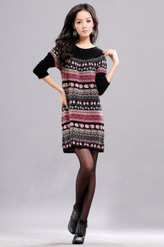 Chic Vintage Stripes Floral Pattern Long Knitting Dress Pullover  Pullover from stylishplus.com