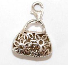 Sterling Silver 925 Bracelet Charm Ladies Purse Handbag CZ Set With Clip On