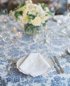 16 Ways to Dress Up Your Reception Tables With Pretty Patterns | Photo by: Carrie Patterson Photography | TheKnot.com