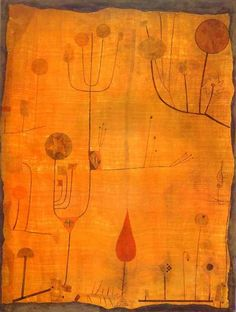 expressionism-art: Paul Klee Fruits on Red, 1930. Size: 46.2x61.2 cm. Medium: watercolor