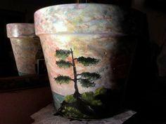 ocean tree flower pot