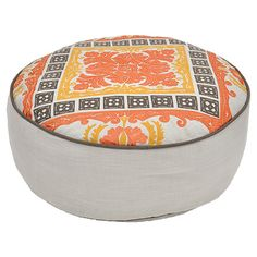 Patterned cotton pouf.   Product: PoufConstruction Material: 100% Cotton slub coverColor: Multi