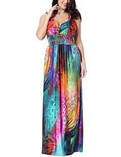 c7bb01adb7 Engood Womens Sexy Plus Sizes Deep V-neck Backless Colourful Strapless Maxi  Long Beach Long Dresses at Amazon Women's Clothing store: