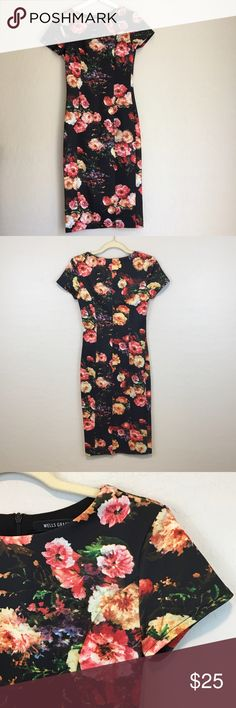 """Wells Grace Floral Sheath Dress Wells Grace floral sheath midi dress with back zip. In good preloved condition. Approx measurements taken while laid flat Bust(pit to pit)-14"""" Waist-12.5"""" Hips-16"""" Length-40.5"""" Wells Grace Dresses"""