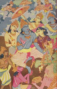 The coronation of Rama Ganesha Art, Krishna Art, Hare Krishna, Pichwai Paintings, Indian Paintings, Om Namah Shivaya, Indian Gods, Indian Art, Indian Illustration