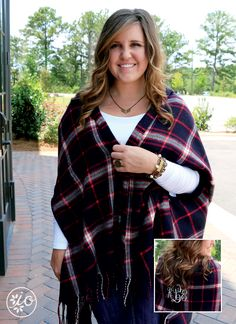 New England Plaid Sweater Shawl | Initial Outfitters