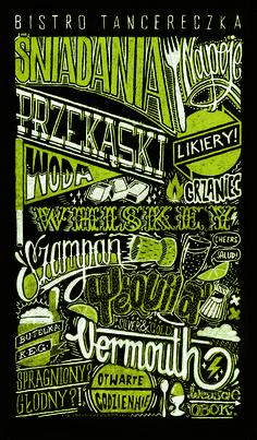 "Handwritten menu for ""Bistro Tancereczka"" in Lublin & Poznań, Poland. By Aleks Skrok"