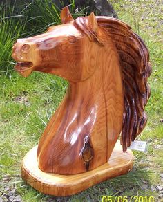 chainsaw carved cedar horse bust by milharley on Etsy, $450.00