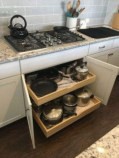Pull-Out Kitchen Drawers No more endlessly digging through your kitchen drawers or having your pots and pans spill out with Ezeglides pull-out drawers. Our custom made drawers roll out to you with ease! Visit our website to get started. Kitchen Pull Out Drawers, Kitchen Drawer Pulls, Kitchen Cabinet Drawers, Kitchen Drawer Organization, Kitchen Cabinet Design, Kitchen Cupboards, Kitchen Interior, Pull Out Cabinet Drawers, Sliding Cabinet Shelves