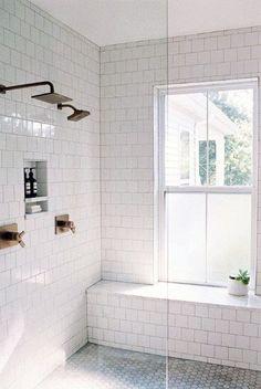 Have a peek at these people DIY Bathroom Renovation Design Rustique, Window In Shower, Bathroom Windows In Shower, Small Bathroom Window, Shower Remodel, Restroom Remodel, Remodel Bathroom, Bathroom Flooring, Flooring Tiles