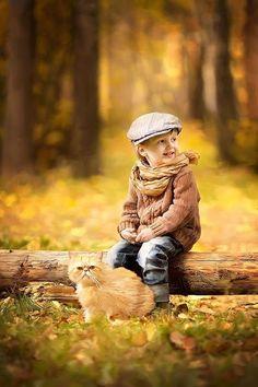 Photo * by grekovamashulya on Cute Kids Photography, Autumn Photography, Outdoor Photography, Boy Photos, Fall Photos, Precious Children, Beautiful Children, Animals For Kids, Baby Animals
