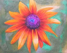 Items similar to Wild Flower Rudbeckia Oil Pastel Drawing Painting By Tjo on Etsy Oil Pastel Drawings Easy, Oil Pastel Paintings, Oil Pastel Art, Easy Drawings, Oil Pastels, Acrylic Painting Flowers, Painted Flowers, Spring Painting, Flower Art
