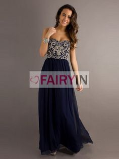 New arriival A-line Sweetheart Floor-length Chiffon Long Bridesmaid Dress Prom Dress Evening Dresses 2013 with Beading via Etsy Navy Blue Prom Dresses, Strapless Prom Dresses, Cheap Prom Dresses, Ball Dresses, Pretty Dresses, Homecoming Dresses, Beautiful Dresses, Bridesmaid Dresses, Formal Dresses