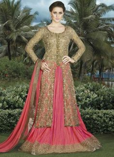 Beige Pink Embroidery Work Silk Brocade Satin Designer Anarkali Lehenga Suit http://www.angelnx.com/Salwar-Kameez/Anarkali-Suits