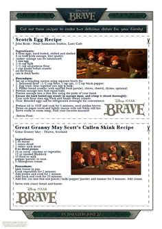 Free Downloadables and Printables from the BRAVE Disney Pixar Movie