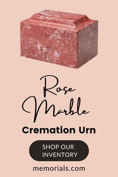 The Rose Marble Keepsake Cremation Urn is made from cultured marble material. The keepsake urn is perfect for home or even the office. A wonderful keepsake urn for your loved one; you can keep them close in your memory and in your heart.Bottom opening threaded stopper. Memorial Urns, Funeral Memorial, Pet Cremation Urns, Keepsake Urns, Pet Urns, Granite Stone, Outdoor Settings, Text Color, Monuments
