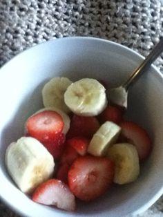 Berrybanana salad cut up some strawberries and a banana and enjoy