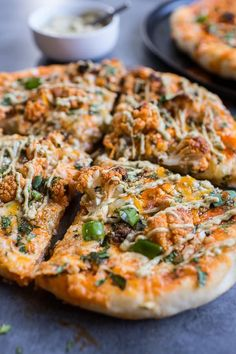 Buffalo Roasted Cauliflower Pizza with Chipotle Blue Cheese Avocado Drizzle #pizza #comfortfood