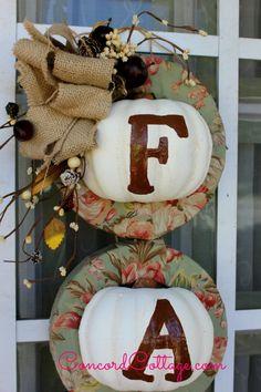 fall pumpkin wreath w dollar store items, crafts, diy, doors, painting, seasonal holiday decor