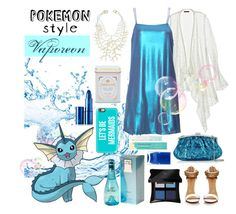 Pokemon Style: Vaporeon by cara-mia-mon-cher on Polyvore featuring polyvore, fashion, style, Calypso St. Barth, Julia Cocco', Kenneth Jay Lane, Casetify, Illamasqua, Pacifica, Lipstick Queen, Davidoff, Nails Inc. and clothing