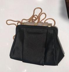 Oscar De La Renta Black Satin Evening Bag Clutch Jeweled And Gold Clasp