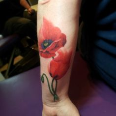 Watercolor style poppy tattoo - Christel Perkins, Denver CO artist