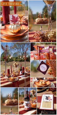 Thanksgiving Tablescape Ideas! Beautiful fall colors, golden pumpkins, caramel apples, etc!