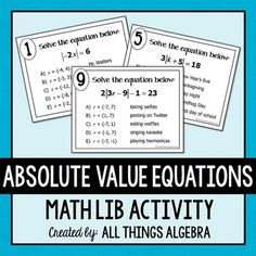 Math lib activities (grades are a class favorite! In this activity, students will practice simplifying expressions by combining like terms as they rotate through ten stations. Geometry Activities, Algebra Activities, Teaching Math, Teaching Resources, Classroom Resources, Teaching Ideas, Classroom Ideas, Absolute Value Equations, Simplifying Expressions