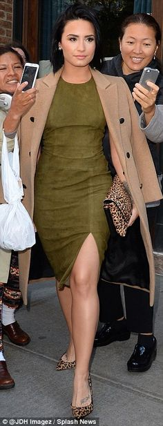 Fierce fashionista: Demi Lovato was spotted looking chic as she left The Greenwich Hotel a...
