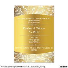 Shop Modern Birthday Invitation Golden Lace Vip created by luxury_luxury. Personalized Birthday Invitations, Gold Invitations, 50th Birthday, Birthday Celebration, Blank Certificate Template, Lace Background, You Are Invited, Floral Lace, Rsvp