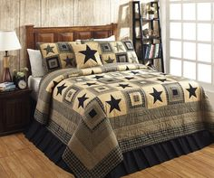Colonial Star Black Queen Quilt Bundle (Quilt and 2 Standard Shams) in awesome colors of black and tan for your primitive country home!