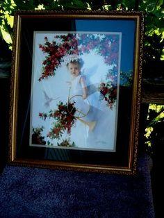 vtg baby angel dove home interiors framed matted signed berkinstock 2001 ex co