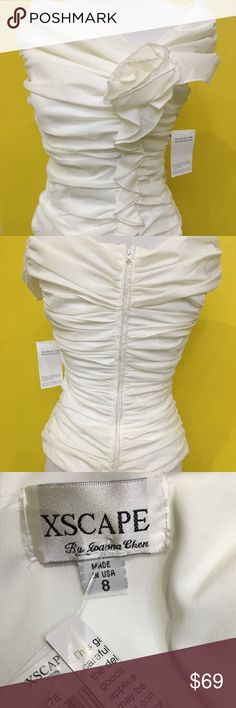 Xscape taffeta ruffle blouse Xscape white ruffle blouse size 8 Xscape Tops Blouses