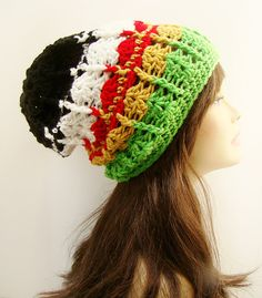 ec879174c47 Crochet Slouchy Beanie Hat - Rasta