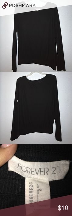 Forever 21 Sweater shirt Color: Black Size: L ~Offers Welcomed~  Very cute thin long sleeve sweater shirt/blouse  Can be dressed up or down  Color: Black Size: L but I think can also fit M *Pet Free/Smoke Free Home*. Forever 21 Tops Tees - Long Sleeve