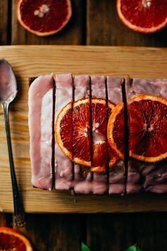 blood orange loaf & blood orange glaze — the farmer's daughter Gourmet Dinner Recipes, Dessert Recipes, Cooking Recipes, Gourmet Foods, Orange Glaze Recipes, Blood Orange, Sweet Bread, Farmer's Daughter, Just Desserts